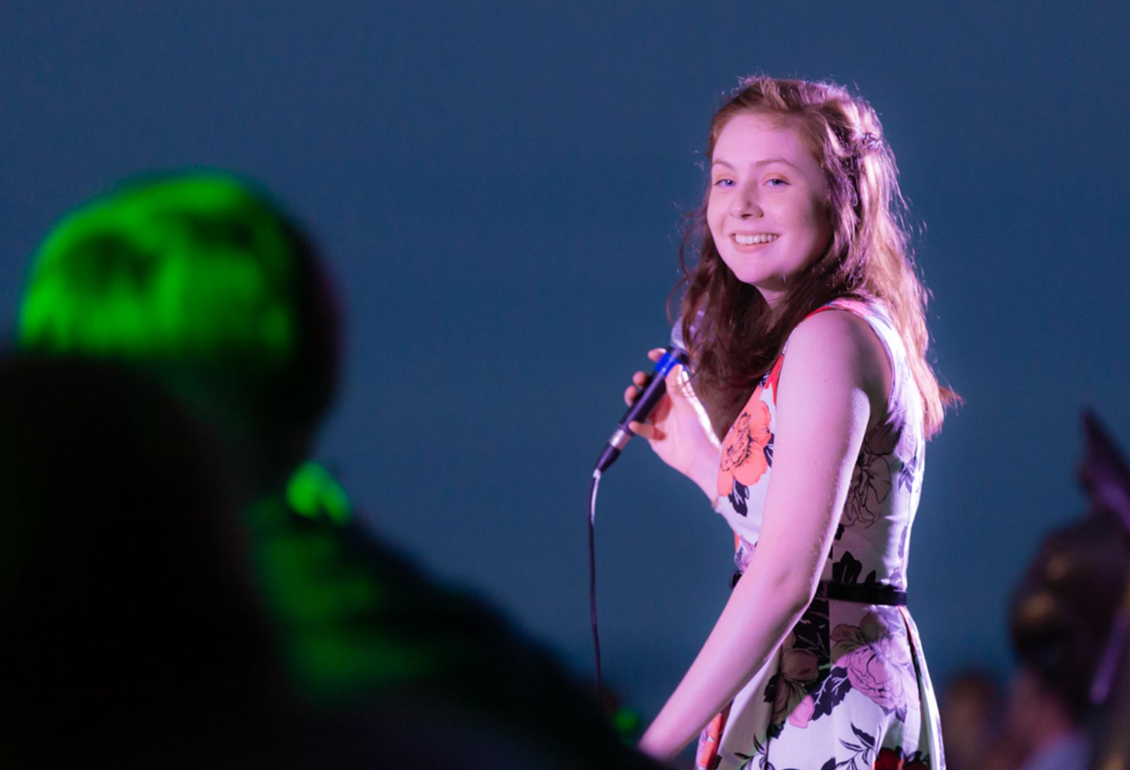 Vocalist, Rhiannon, during a concert at the Crane Estate in Ipswich MA