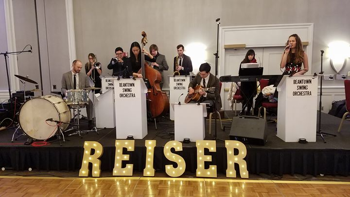 Sound checking for Reiser, Inc. Christmas party tonight